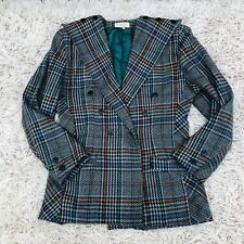 Vintage Vtg Women's Plaid Blazer Jacket -Italy - Wool Blend - Double Breasted