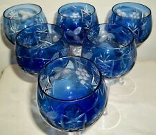 "SIX Bohemian Blue Cut-to-Clear Crystal WINE HOCKS 8-1/4"""