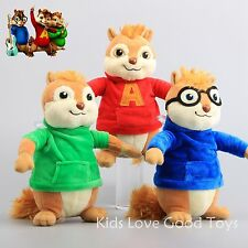 3 Pcs Alvin and the Chipmunks Simon Theodore Plush Doll Soft Toy 9'' Xmas Gift