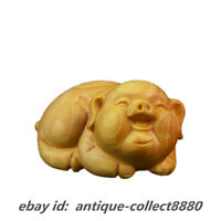 "2.4"" Chinese Box-Wood Hand Carved Fengshui 12 Zodiac Animal Pig Wealth Statue招财猪"