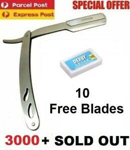 Sharp Barber Salon Straight Cut Throat Shaving Razor Shavette RASOIRS 10 Blades