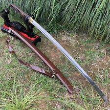 Japanese Battle SwordSamurai Katana Sharp Damascus Steel Blade PU Wood Sheath