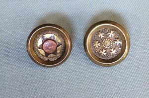 2 Tiny Jacksonian Type Brass Buttons, Best Gold Color