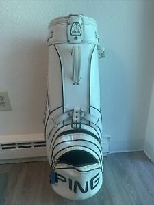 Vintage PING Golf Cart Bag White & Black Vinyl Leather 4 Section with COVER Rare