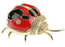 Ladybug 24K Enameled Trinket Box Austrian Crystals Pill Jewelery Small Lady Bug
