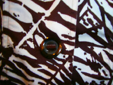 """COLDWATER CREEK Brown & White Tropical Cropped JACKET Blouse~Size 16~Bust 46"""""""
