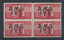 1947-48 TRIESTE A DEMOCRATICA 100£ QUARTINA MNH ** 8824