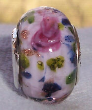 Pink Roses Flower Blue Murano Glass Bead fits European Charm Slide Bracelets
