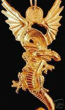 SALE Gold Plated Fire breathing Dragon Silver Pendant Charm