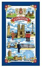 London Tea Towel Souvenir Gift Scenes Big Ben Nelson Tower Bridge Blue UK Cotton