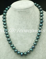 """freshwater pearl peacock black roundel 12-14mm necklace 18""""  wholesale beads"""