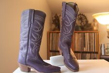 Frye OT 30065 Eggplant Purple Leather Pull On Cowboy Boots Size 5.5 B Made USA