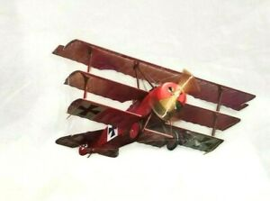 """19"""" Red Baron Triplane flying high wings air plane STEEL aviation sign Take Off"""