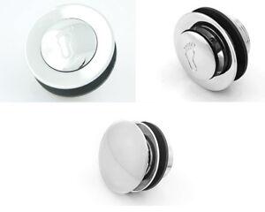 Unslotted waste pop up bath shower chrome plug bathroom push button  (8,9)