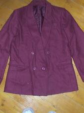 Bhs Ladies Claret Wool Mix Jacket Size 12