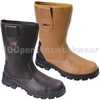 Blackrock SF01 Work Mens Safety Rigger Boots Shoes Tan Black Steel Toe Cap New
