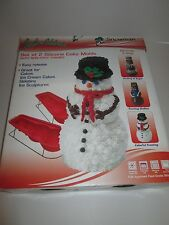 3-D SNOWMAN Silicone CAKE MOLDS PANS Non-Stick Frames NEW Gelatin ICE SNOW