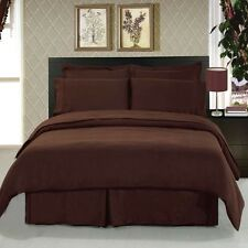 1200 Thread Count 100% Egyptian Cotton Bed Sheet Set QUEEN Chocolate Solid