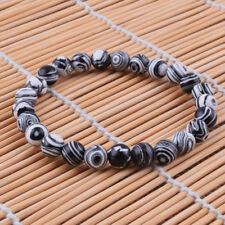 Fashion Accessories 8mm Black Malachite Stone Round Beads Bracelet Handcraft