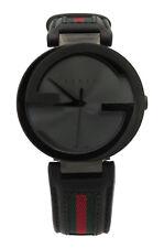 Gucci YA133206 Interlocking G Black Dial Green Red Leather Swiss Mens Watch