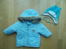 Jacke mit Fellkapuze Winterjacke Gr 68 hellblau incl C&A Mütze 1A