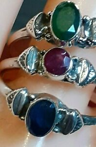 SAPPHIRE, RUBY or EMERALD Handcut Natural Stones, 925 Sterling Silver Rings