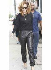 beautiful Rihanna Wearing Black Lambskin Leather Joggers Pant Stylish Night Out