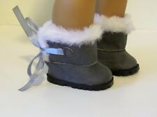 """Grey Fur Hugg Boots Fits 18"""" American Girl Doll Clothes Shoes"""