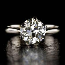 Redondo 0.50Ct Anillo de Compromiso con Diamante para Mujer 18K Oro Blanco TALLA