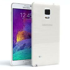 Schutz Hülle für Samsung Galaxy Note 4 Brushed Cover Handy Case Weiß