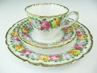 "Gladstone Bone China ""Rosemary"" Teacup, Saucer & Dessert Plate - England"