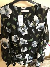 New Ladies Woman Clothing Winter George Collection Black Floral Blouse Top UK 22