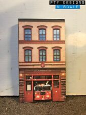 """N Scale Scratch Built """"FIRE HOUSE"""" Department Station Front/Flat, Walthers"""