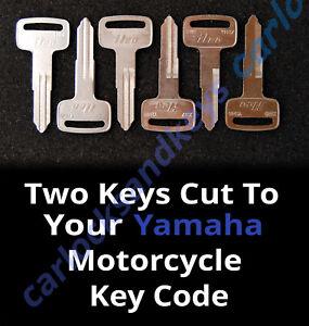 1983-1993 Yamaha Venture Royale Motorcycle Keys Cut By Code - 2 Working Keys