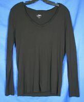 ANN TAYLOR LOFT Black LONG SLEEVE Scoop Neck SOFT Jersey Knit COTTON BLEND Top M