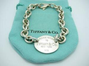 """Please Return to Tiffany & Co. Sterling Silver Oval Tag Bracelet 8"""" - Pouch"""