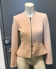 NWT L. K. Bennett JK Una Pastel Peach Zip Up Blazer Jacket USA Sz 2
