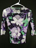 New York & Company Women's Multicolor Floral 3/4 Sleeve Blouse Size Xs