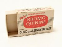 Vintage Empty Pharmaceutical Pharmacy RX BROMO QUININE Cold Sinus Relief Box