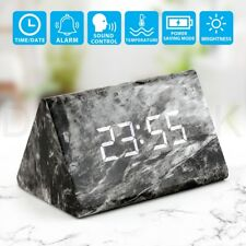 New Modern Marble Digital Wooden Wood LED Desk Alarm Clock Thermometer Timer