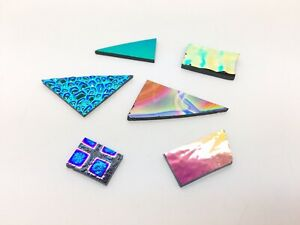Bundle Dichroic Glass on Black Colours Textured Pattern COE90 Fused Fusing 10g