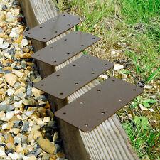 4 X STRAIGHT Timber Railway Sleeper Bracket Wooden Planter Raised Bed - Brown