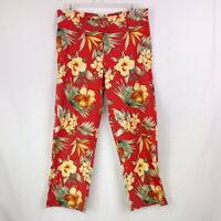 TOMMY BAHAMA Womens Sz 10 Red Tropical Floral BOHO Pants SILK Blend