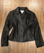 Croft & Barrow Black Leather Lambskin Jacket S Small Two Button Coat