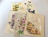 Lot Of 6 Vintage In Sympathy Greeting Cards Beautiful Art W/cursive Doehla