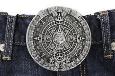 Men Women Metal Belt Buckle Antique Silver Metal Fashion Aztec Calendar Mayan