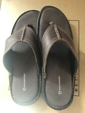 Mens Rockport Brown Thong Leather Sandals Sports Slip On Flip Flop 12.5 37.5