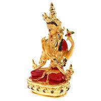 Heilige Bodhisattva Statue Tibetische Buddha Legierung bemalte kleine Statue