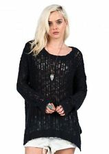 2016 NWT WOMEN VOLCOM OPEN ROAD SWEATER $60 S black side slit detail knit design
