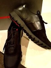 $695 NEW Men's Prada Black Leather/Suede/Nylon Sneaker Trainer Shoe US 11.5